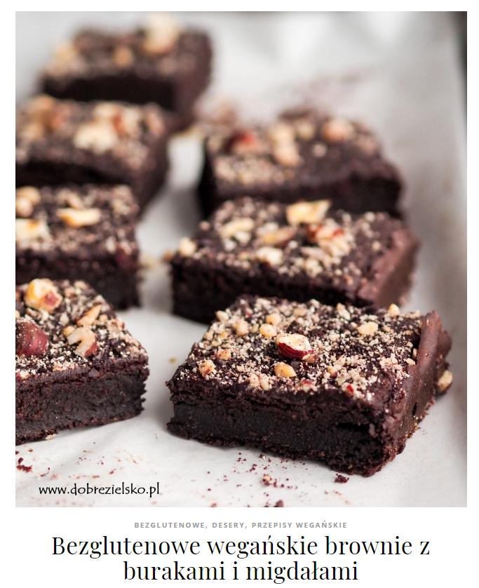 wegańskie brownie z burakami bez glutenu