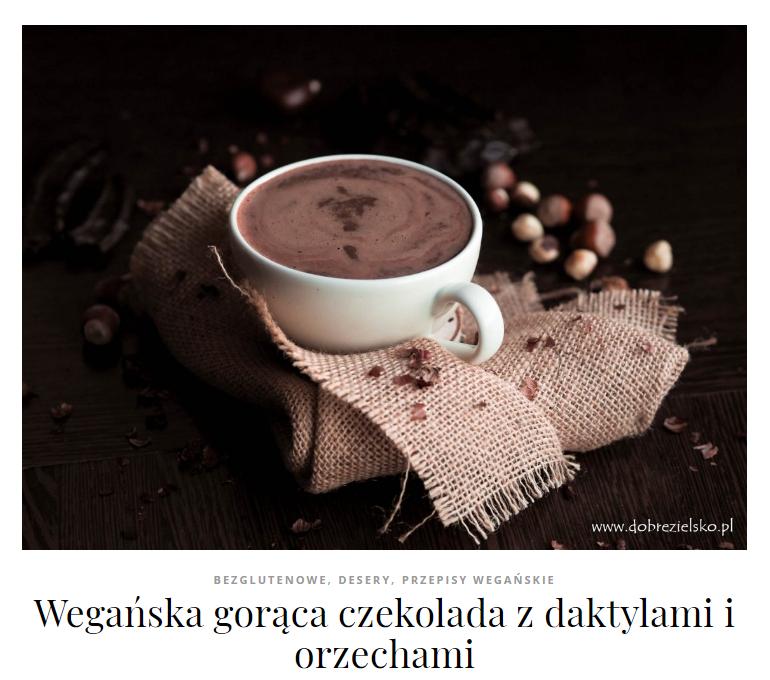 wegańska gorąca czekolada daktylowa bezglutenowa