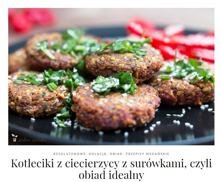 falafele wegańskie kotlety z ciecierzycy bezglutenowy obiad dodatki