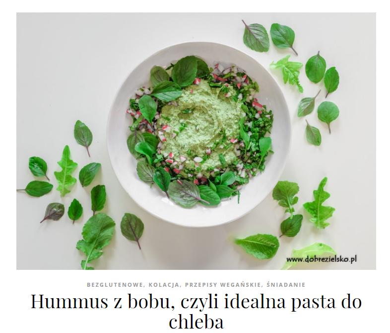 hummus z bobu do kanapek wegański bezglutenowy pasta z bobu